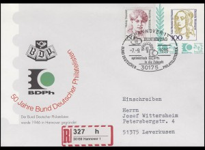 Privat-Umschlag 50 Jahre BDPh R-Brief SSt Hannover Bundestag 7.9.1996