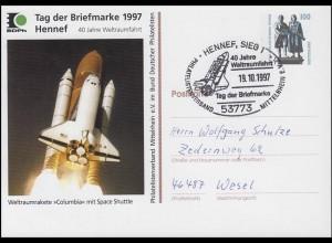 Privat-Postkarte Space Shuttle Columbia, SSt Hennef Weltraumfahrt 19.10.97