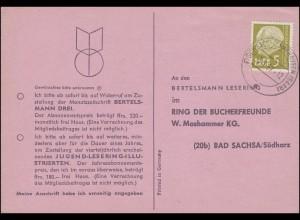 384 Heuss 5 (Fr) EF Buchbestellkarte Bertelsmann FISCHBACH-CAMPHAUSEN 5.1.1957