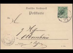 46 Ziffer 5 Pf auf Postkarte PADERBORN 30.10.1895 nach OLBERNHAU-GRÜNTHAL 31.10.