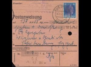 Sächsische Schwärzung AP 791I Hitler 3x20 Pf. violett, Postanweisung AUE 1.6.45
