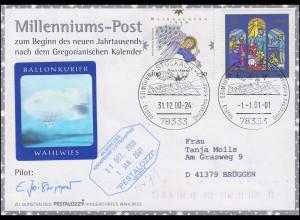 Luftschiffspost DKL 71 Millenniums-Post STOCKACH 31.12.00 / STOCKACH 1.1.01