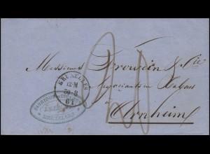 Belgien Dienstbrief BRÜSSEL / BRUXELLES 30.8.61 nach ARNHEIM 31.8.1861