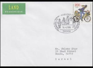 1814 Tag der Briefmarke & Postzustellerin, SSt Messe Koblenz 14.4.96 nach Israel