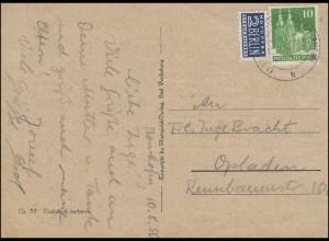 80eg Bauten 10 Pf. mit Notopfer EF auf Schmuck-Postkarte KAMP-BORNHOFEN 10.8.50