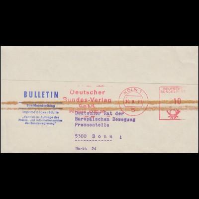 AFS Deutscher Bundesverlag Streifbandzeitung KÖLN 30.8.1971 nach Bonn