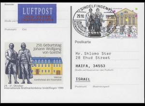 PSo 62 Sindelfingen Goethe SSt Sindelfingen Schiller Goethe 29.10.99 nach Israel