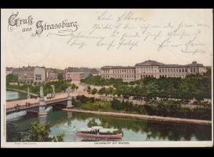 AK Gruss aus Strassburg: Universität mit Brücke 10.7.1898 nach CÖLN 10.7.