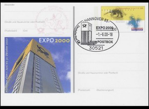 PSo 69 EXPO Hannover 2000, SSt Hannover POSTBOX 1.6.2000 & roter Nebenstempel