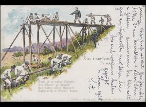 Ansichtskarte Pioniereinheit: Bau einer festen Brücke, MÜNCHEN 31.12.07