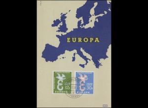 439-440 Europa CEPT 1958 auf Maximumkarte Ersttagsstempel SAARBRÜCKEN 13.9.1958