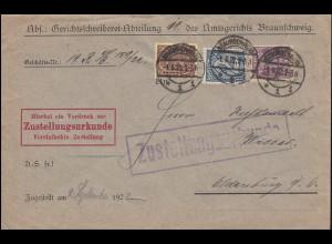 24+28+33 Dienstmarken auf Zustellungsurkunde BRAUNSCHWEIG 1.9.22 nach Oldenburg