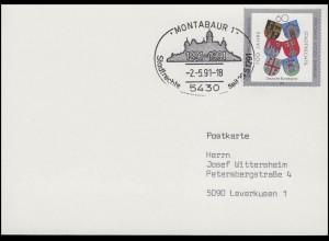 1528 Stadtrechte & Wappen, FDC-Postkarte ESSt Montabaur Stadt-Silhouette 2.5.91