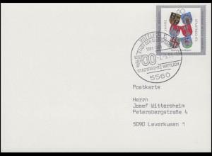 1528 Stadtrechte & Wappen, FDC-PK ESSt Wittlich Stadt der Säubrenner 2.5.1991