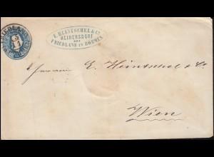 Österreich Umschlag U 4A Kaiser Franz 15 Kr. blau FRIEDLAND in BÖHMEN 15.11.
