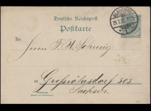 Postkarte Ziffer 5 Pf. grün GLAUCHAU 29.7.92 nach Großröhrsdorf