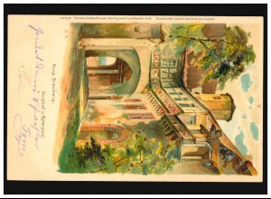 AK Burg Breuberg Burghof und Rittersaal, Neustadt 31.08.1901/ Fürth 01.09.1901