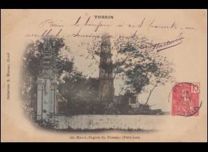 AK TONKIN Hanoi Pagode du Pinceau (Petit-Lac) 18.6.1906 nach LUNEVILLE 28.7.06