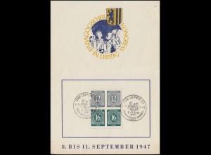 Faltkarte Pädagogischer Kongress Leipzig mit zweimal S 294 SSt LEIPZIG 10.9.1947