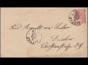 Norddeutscher Bund U 1Aa Ziffer 1 Groschen ZITTAU 5.12.1869 nach DRESDEN 6.12.