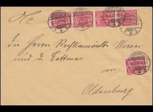 28 Dienstmarke 40 Pf als MeF auf Dienstbrief NORDENHAM 16.2.22 nach Oldenburg
