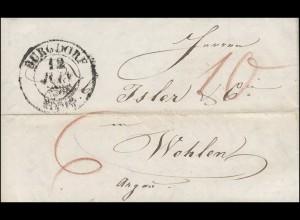 Vorphilatelie Schweiz Brief Zweikreisstempel BURGDORF 12.6.1939 nach Wohlen