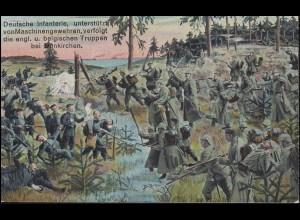 Ansichtskarte I. Weltkrieg: Deutsche Infanterie bei Dünnkirchen, ungebraucht
