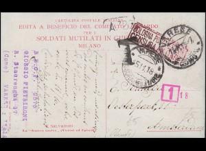 Zensur auf Propaganda-AK Unser Krieg VARESE 15.11.1918 nach Amsterdam