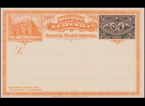 Guatemala Ganzsache Postkarte Aufdruck 3 C. schwarz/orange 1898, ungebraucht **