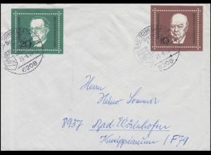554 Churchill + 555 De Gasperi aus Bl. 4, Brief SSt BAD SCHWALBACH 23.8.68