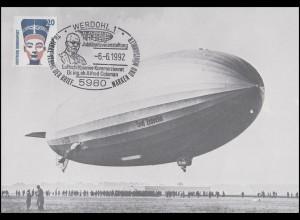 Repro-Ansichtskarte Zeppelin LZ 130 SSt Werdohl Dr. Colsman 6.6.1992