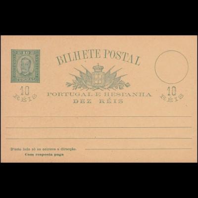 Portugal Madeira Postkarte König Carlos I. Doppelkarte 10/10 R grün, ungebraucht