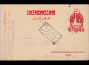 Türkei Postkarte P 47I Leandertum 20 Para rot PERA 25.12.1916 nach Berlin