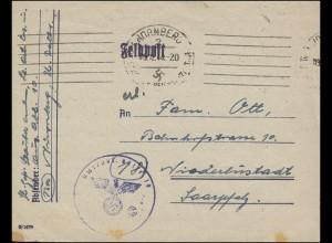 Feldpost Briefstempel Ausbildungsabteilung 10 aus NÜRNBERG 9.12.1944
