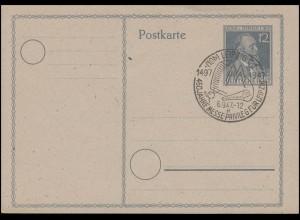 Postkarte P 965 Heinrich von Stepahn, SSt Leipzig Messeprivileg 6.9.47