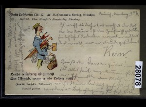 Wilhelm-Busch-Postkarte 17 Fr. Bassermann's Verlag München, DORNUM 12.7.1898