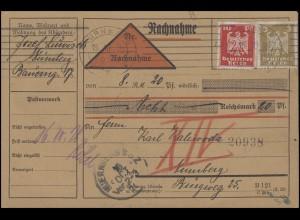 355+357 Reichsadler 3+10 Pf. MiF auf Orts-Nachnahme-Karte NÜRNBERG 15.10.26