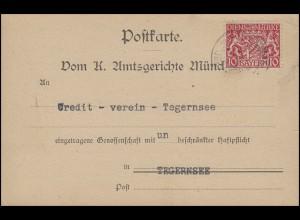 26 Dienst 10 Pf. EF Postkarte Amtsgericht München 21.8.19 nach Tegernsee