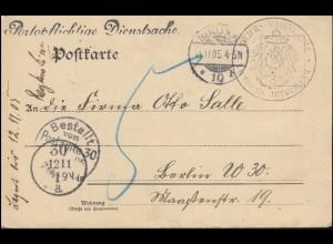 Dienstsache Reichs-Marine-Amt als Orts-Postkarte BERLIN 11.11.1905