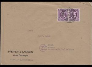 AM-Post 12 Pf. Paar als MeF auf Fern-Brief DORMAGEN 7.3.1946 nach Kölm