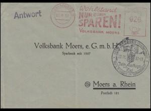 Absenderfreistempel Volksbank Moers 22.11.57 Antwort-Brief SSt BRÜGGEN 23.11.57