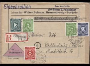 Ziffern-MiF NN-R-Brief Not-R-Zettel EHMEN über FALLERSLEBEN 8.8.47 n. Dillenburg