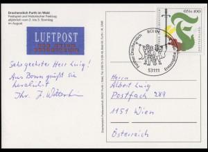 2207 Drachenstich in Furth, EF FDC-AK Festspiel & Festzug ESSt Bonn 9.8.2001