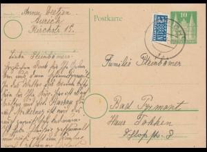 Postkarte 2I Holstentor Lübeck mit Notopfermarke AURICH 20.6.1949 n.Bad Pyrmont