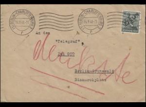 7 Schwarzaufdruck 16 Pf. EF portog. Orts-Brief BERLIN-CHARLOTTENBURG 14.9.1948