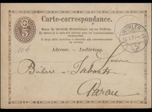 Schweiz Postkarte P 4 Ziffer im Oval braun WOHLEN 14.5.1874 nach Aarau