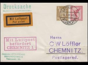 GA Mit Luftpost befördert CHEMNITZ auf Drucksache LEIPZIG-FLUGPL. 12.5.27