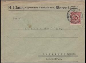 340Pa Korbdeckel-Muster 10 Pf EF Brief Zigarren - und Tabakfabrik BIEREN 14.2.24