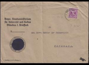 Bizone 7 AM-Post 12 Pf. EF Bf Ministerium Unterricht und Kultus MÜNCHEN 3.11.45