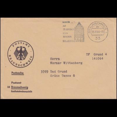 Postsache Postamt Braunschweig Rundfunkabrechnungsstelle 15.10.64 nach Bad Grund